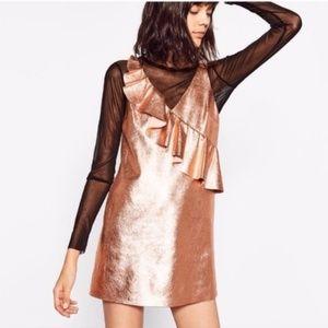 Zara   NWT Rose Gold Metallic Dress